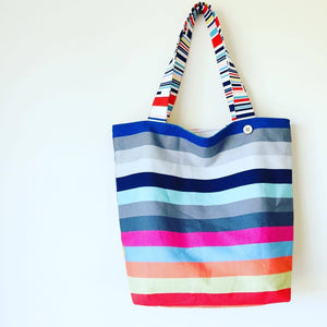 Maxi Reversible Tote - Candy Stripes