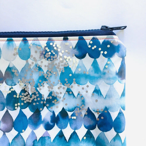Blue Rainbow and Drops Dual sided - Planner Pouch