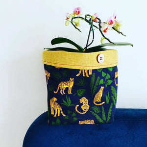Planter - Navy Leopard Jungle