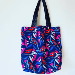 Maxi Reversible Tote - Birds on Blue