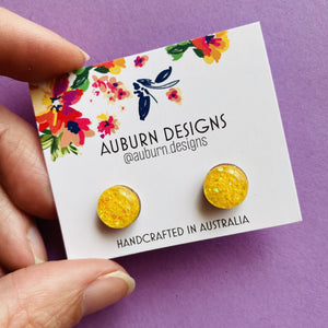 Auburn Designs - Yellow Glitter Studs
