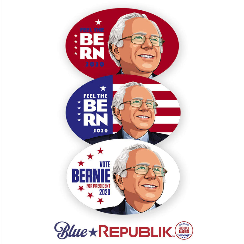 Bernie Sanders, 3 Pack - 4 x 6 Oval Bumper Stickers for Cars, Trucks and RVs. Bernie Sanders Bumper Sticker. Professionally Printed in USA with UV Resistant Inks, UV Protective Coating. Easy to Install.