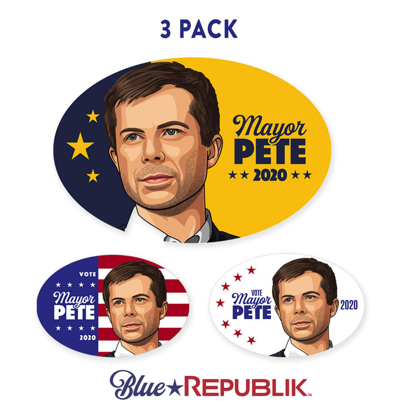 BlueRepublik Pete Buttigieg 2020 Oval 4 x 6 Decal for Computer, Fridge or Car Bumper Sticker. 3 Pack of Pete Buttigieg Stickers. Printed in America with No Fade Weatherproof UV Inks.