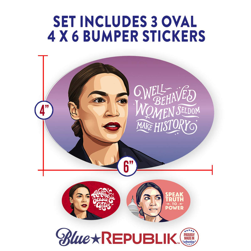 Alexandria Ocasio-Cortez Oval Bumper Stickers- 3 Pack. AOC Speak Truth to Power. AOC Stickers Professionally Printed in USA with Fade Resistant UV Inks.