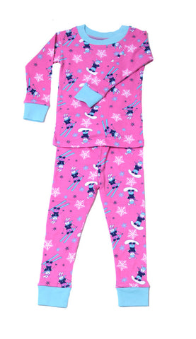 New Jammies Organic L/S Pajamas in Ski and Snowboard Bunny sz 12m only