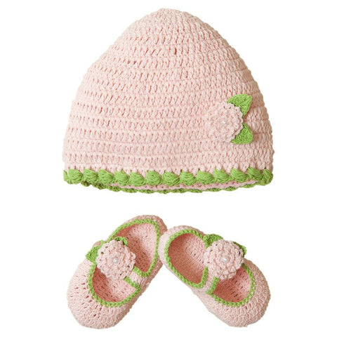 Elegant Baby Pink & Green Knit Hat and Bootie Set