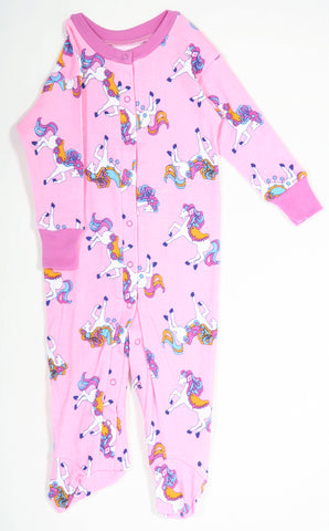 New Jammies Organic Footie Romper Pajamas in Pretty Ponies sz 3 mos only