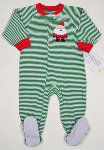 Sara's Prints Long Sleeve green striped Footed Pajama for Babies sz 6m only