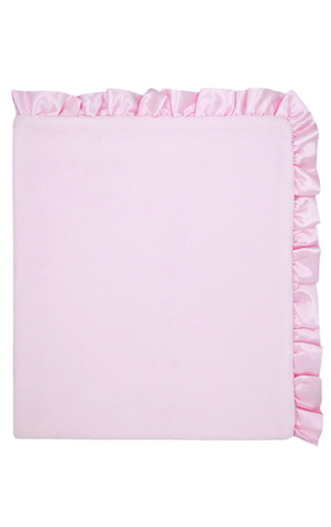 Le Top Oh My Darling Plush Double-Sided Blanket with Satin Ruffle