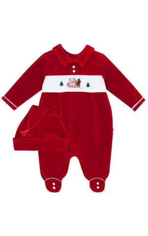 Le Top Santa Puppy Velour Coverall and Cap sz 6 mos only