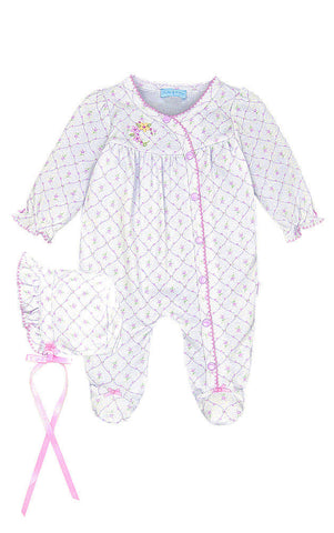 Preemie Le Top Baby Blossoms Footed Jumpsuit and Bonnet