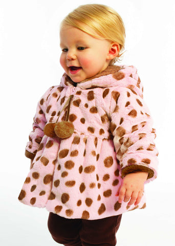 American Widgeon Hooded Pom Pom Coat in Pink Dalmatian sz 12 mos & 18 mos only