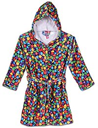 Up Past 8 Stars & Hearts Fleece Hooded Bath Robe w/Two Pockets