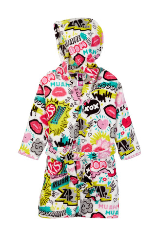 Up Past 8 Exclamation XOX Fleece Hooded Bath Robe w/Two Pockets