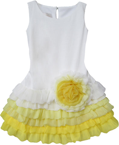 Isobella and Chloe Sunrise Splash Dropwaist Dress in Yellow sz 12m only