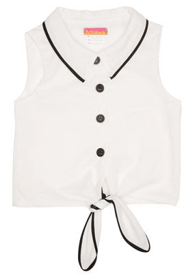 Kate Mack Opposites Attract B/W Tie Front Top for Girls