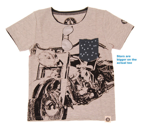 Mini Shatsu Stars n Stripes Harley Motorcycle T-Shirt for Boys sz 12 only