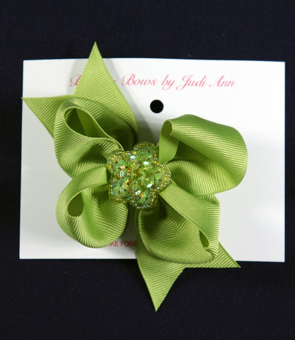 Buds & Bows Apple Green Bow with Sequin Flower Center Hair Clip or Ponytail Holder