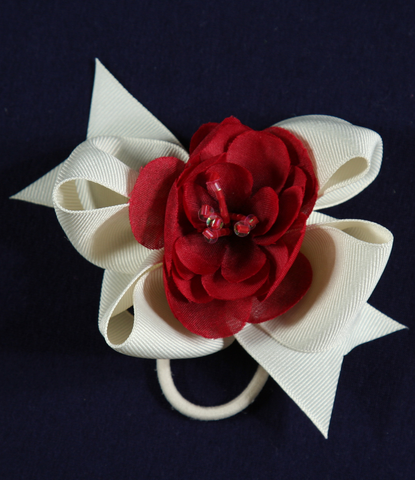 Buds & Bows Off-White Bow with Red Flower Center Hair Clip or Ponytail Holder