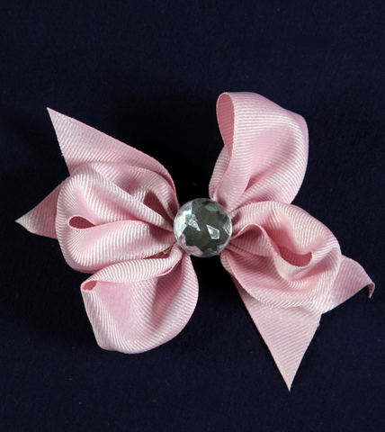 Buds & Bows Light Pink Bow with Gemstone Center Hair Clip