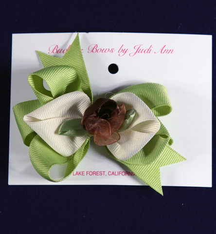 Buds & Bows Apple Green & Cream Bow with Rosebud Hair Clip or Ponytail Holder