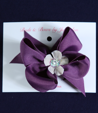 Buds & Bows Purple Bow with White Flower Center Hair Clip or Ponytail Holder