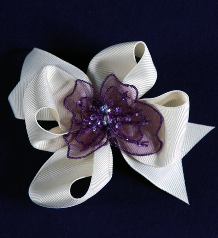 Buds & Bows Off-White Bow with Purple Butterfly Center