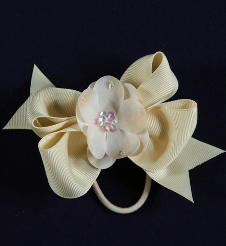 Buds & Bows Cream Bow with Cream Flower Center Hair Clip or Ponytail Holder