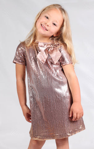 Biscotti Time to Sparkle Gold Sequin Short Sleeve Dress 6x