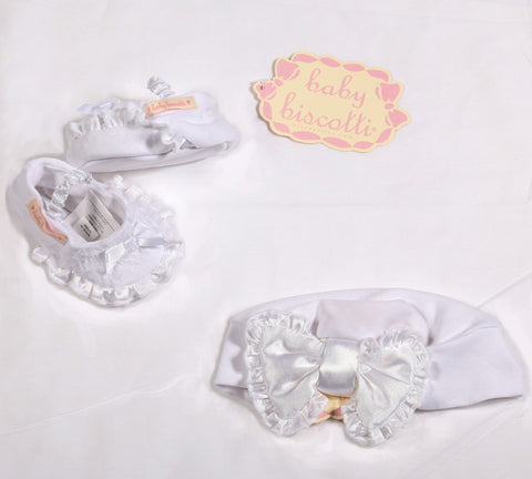 Biscotti Wrapped in Ruffles White Infant Hat and Booties Set