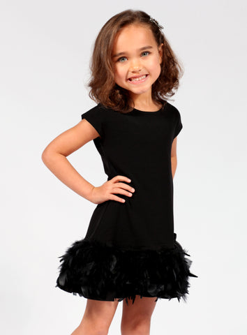 Dolls & Divas Black Flounce Dress with Feathers sz 4 only