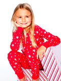 Skylar Luna Organic Red & Silver Stars L/S Pajamas Great for Holidays Christmas
