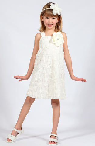Cach Cach Ivory Roses Dress sz 4 & 5