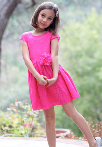 ElisaB Lace Dress in Fuschia sz 7 & 8 only