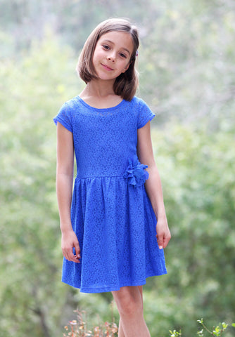 ElisaB Lace Dress in Royal Blue sz 4 & 5 only