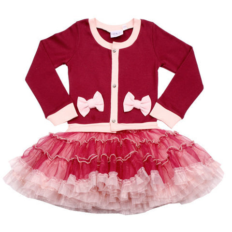 Ooh La La Couture Coco Cardigan Dress in Red for Babies