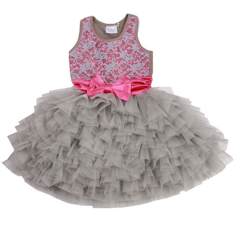 Ooh La La Couture Wow Dream Dress in Silver Sparkle Lace sz 18 mos