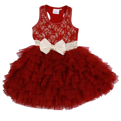 Ooh La La Couture Wow Dream Dress in Red Sparkle Lace sz 12 only