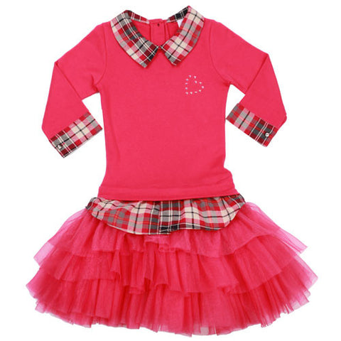 Ooh La La Couture Plaid Collar Shirt Dress in Hot Pink Plaid