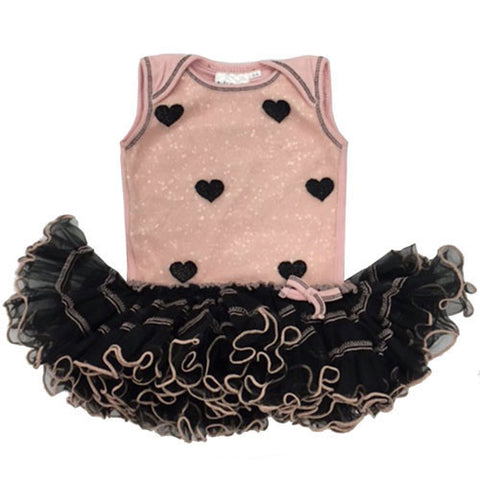 Ooh La La Couture Curly Edge Mesh Heart Poufier in Blush/Black for Babies