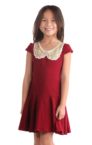 Five Loaves Two Fish Gone for Gold Holiday Dress in Burgundy Red sz 2 4 5