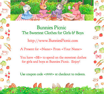 Bunnies Picnic Gift Certificate