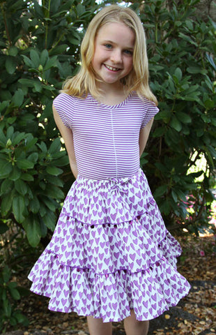 Pink Chicken Allie Skirt in Purple Hearts sz 4 only