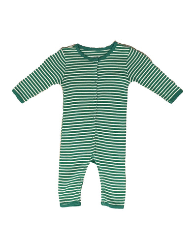 Skylar Luna Organic Forest Green & Grey Striped Onesie Romper Pajamas