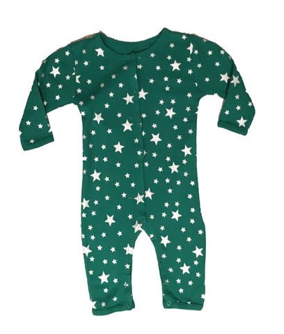 Skylar Luna Organic Forest Green Stars One Piece Pajamas for Babies