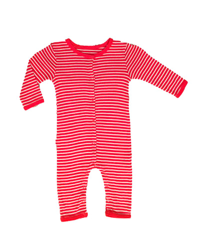 Skylar Luna Organic Red & Grey Striped Onesie Romper Pajamas for Babies