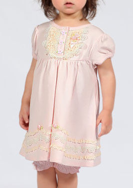 Biscotti Lace Lullaby Infant Dress and Bloomers in Soft Pink for Babies