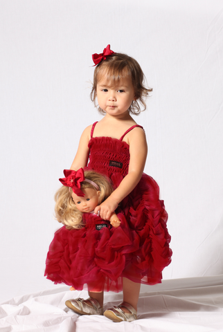 Dolly Bubble Dress in Ruby sz M (6-8 years) only