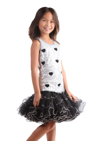 Ooh La La Couture Curly Edge Mesh Heart Poufier in Silver/Black sz 4T only