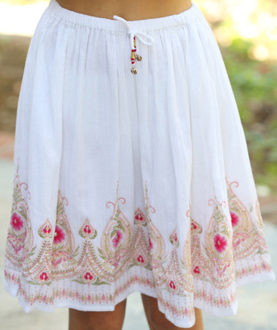 Pink Chicken Tilda Skirt in Antique White